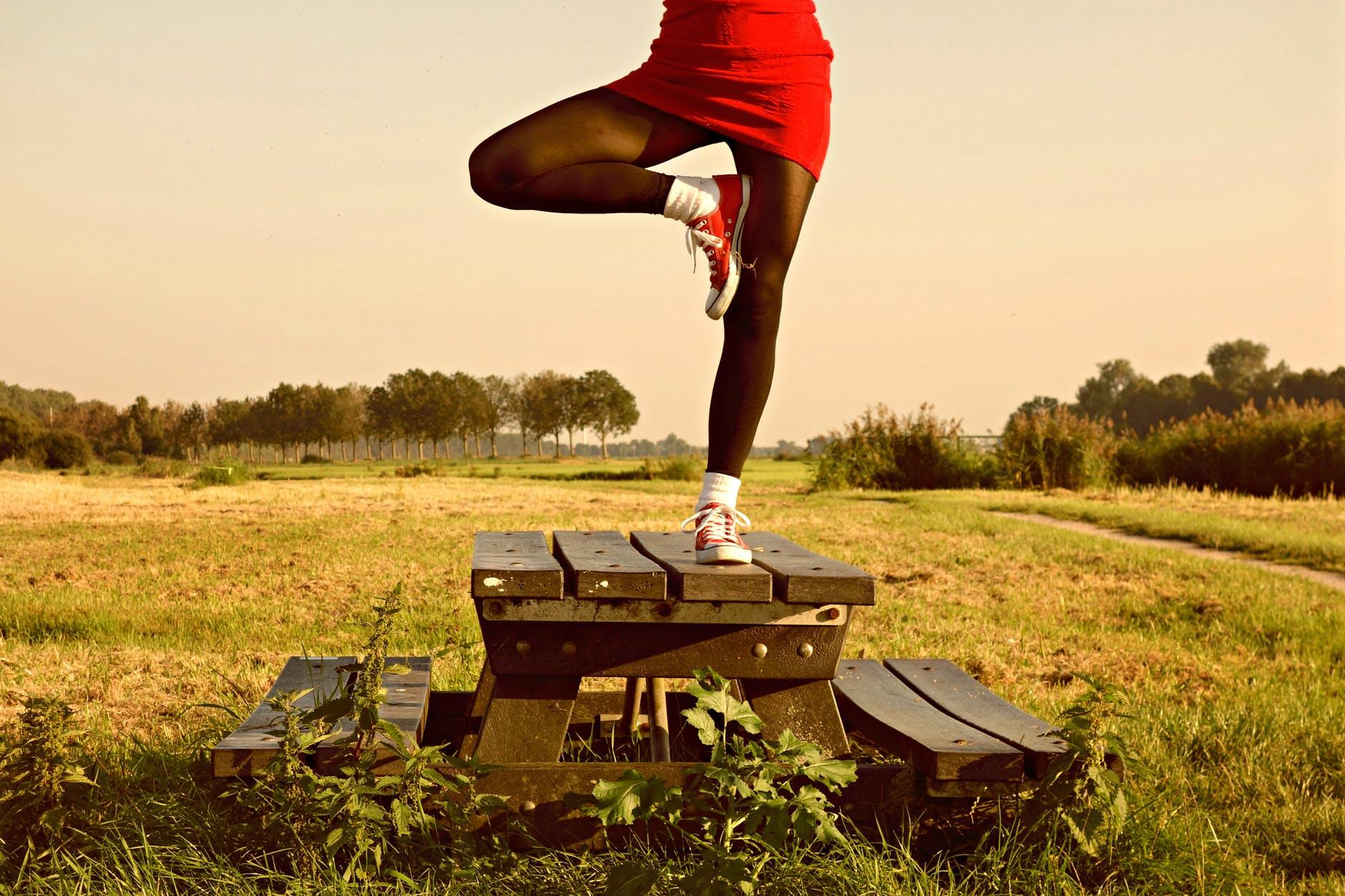 balance countryside field girl