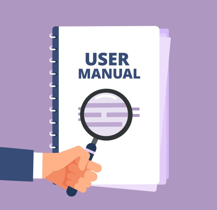 User manual with magnifying glass. User guide document and magnifier. Handbook, handbook, instruction and guidebook vector icon